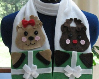 Fleece Scarf Pattern - Boy and Girl Deer Fleece / Holiday / Christmas Scarf / No-Sew Pattern - Reindeer Scarf - Digital Download