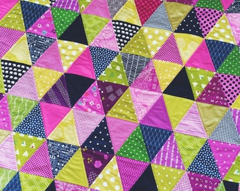 SALE Triangle modern baby quilt