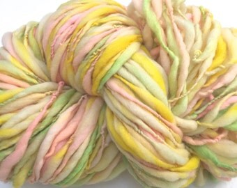 Yarn Handspun Thick and thin -HAPPY DAY- merino, crochet, knit, weaving, supplies, craft supplies, doll hair 150yds.