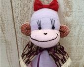 Japanese Sock Monkey Doll Girl #132 - Japanesque Sock Monkey Plush Doll, Pink, Purple, Yabane, Toy, Nursery, K&K