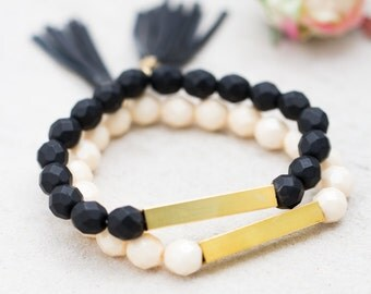 Black and White Beaded Bar Bracelet Set, Black and white bracelets, Stretchy Bracelet set