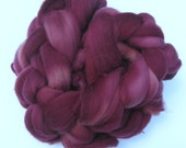 Polwarth Wool Top, Burgundy Spinning Fiber, Felting Fibre,  Wool Roving, Combed Top, 4 ounces