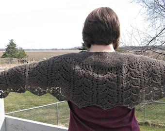 Handknit Brown Wool Shawl, Scarf. Stole, Wrap for Women