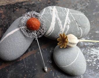 Spiders Web Crochet Wire &  Felt Brooch Pin in Rust Orange Colour