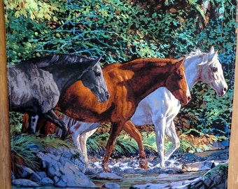 3 Horse Wall Hanging with Stream very Colorful