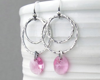 Bead Earrings Silver Hoop Earrings With Beads Pink Earrings Crystal Earrings Crystal Jewelry Gift for Her - Ashley