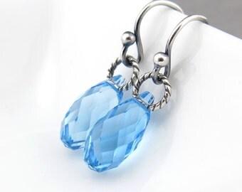 Aquamarine Earrings March Birthstone Jewelry Blue Crystal Earrings Sterling Silver Jewelry Blue Dangle Earrings - Petite Drops