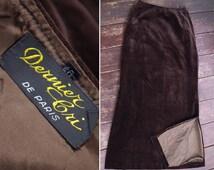 """Chocolate VELVET 1940's Vintage Dark Brown Long Velvet Skirt // size Small Waist 26"""" // by Dernier Cri de Paris"""