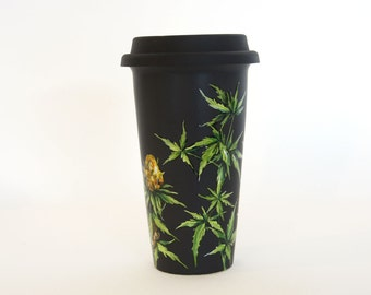Black Ceramic Travel Mug  - Cannabis Plant | Botanical Collection