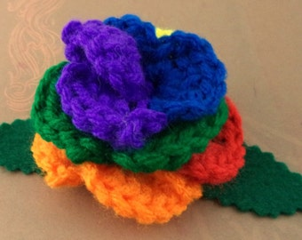 Crocheted Rose Hair Clip - Rainbow (purple center) (SWG-HC-RB02)