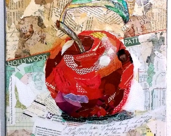 An Apple A Day - 12x12 Original Torn Paper Collage - Mixed Media