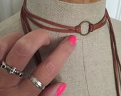 Brown leather wrap choker necklace