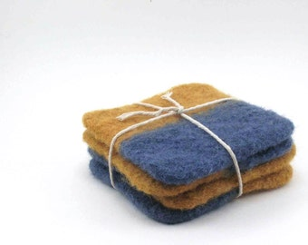 Felted wool coasters - color block felted coaster set - mustard and steel blue