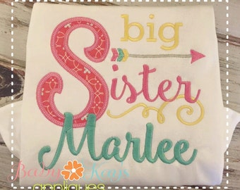 Big Sister Arrow Applique Design 4x4, 5x7, 6x10, 8x8