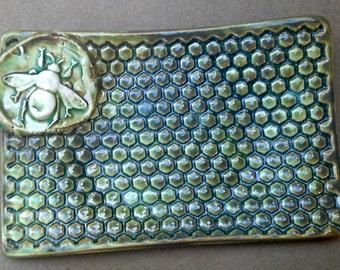 Ceramic Soap Dish Honey Bee Moss green