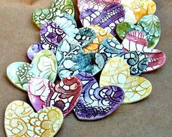 MADE To ORDER  Wedding Favors, bridal shower favors Ceramic Heart  Ring  Holder Bowls choose your color or colors