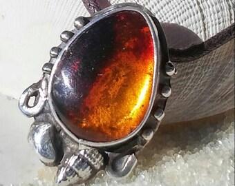 Dominican Multi Color Amber and Shells Pure Silver  Pendant