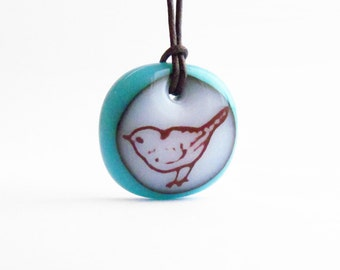 Song Bird Necklace - Various Colors - Nature Jewelry, Bird Pendant