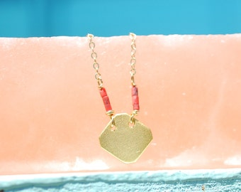FRAGMENT - DIAMOND necklace sterling silver or 14kt gold vermeil with CORAL beads handcrafted by artisan Chocolate and Steel