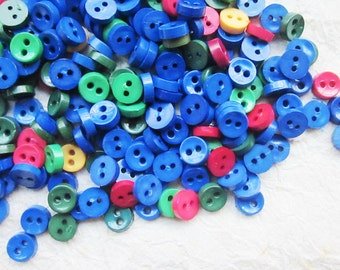 SALES 100 pcs Tiny 2 hole button - 6.5 mm. for making Barbie, Blythe and dolls clothes SET22