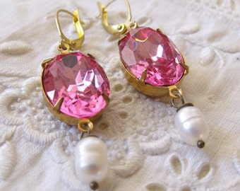 Etaste Style Vintage Pink Jewels With Fresh Water Pearls, Glass Drop Earrings, Cocktail Earrings