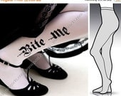SALE25%off/// Large/Extra Large sexy HALLOWEEN BITE Me tattoo Full Lenght  tights / stockings / pantyhose / nylons White
