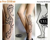 SALE25%off/// plus size xxl sexy DAYDREAM tattoo tights / stockings /  full length  / pantyhose / nylons ULTRA Pale