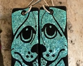 NEW Dog Dichroic Glass Earrings - Hand Etched Split Design Turquoise Glass Art