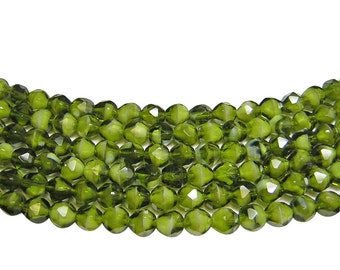 Czech Fire Polished Beads 8mm Olive Green Givre Fire Polished Round Beads 18pcs (393) Czech Glass Beads