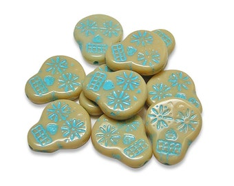 Czech Sugar Skull Beads 20x17mm Turquoise Washed Opaque Beige Sugar Skull Beads 4pcs (3591) Czech Glass Beads