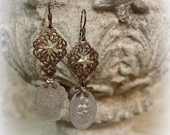 will there be any stars in my crown one of a kind vintage assemblage earrings very vintage holy medals and vintage sTars