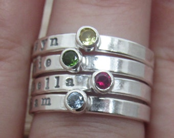 Birthstone Stackable Ring Personalized Sterling Silver Mommy Ring Hand Stamped Gemstone Ring