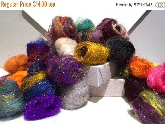 Christmas in July SALE Needle Felting Fiber, roving, Wool Fun Pack, Wool Craft Kit, 2 oz, Deluxe grab bag, texture fibers, multi-color mini