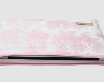 "MacBook Pro Touch Bar // Laptop Sleeve // MacBook Air Case // 15 inch // 13 inch // 11"" // Chromebook Cover - Baby Pink Toile"