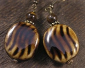Chocolate brown glazed ceramic beads, tiger eye stone and antique brass earrings