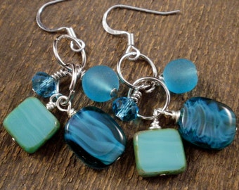 Turquoise blue czech glass, beach glass, swarovski crystal and silver cluster earrings