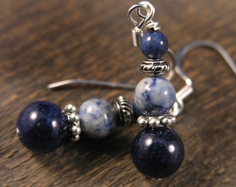 Navy blue durmatite stone, fossilized dinosaur bone beads handmade silver earrings