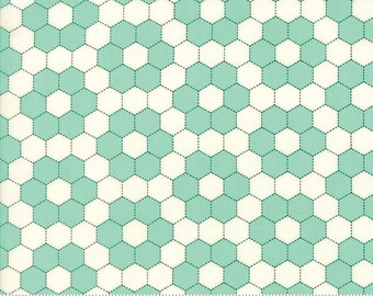 Handmade - Grandmother's Garden in Aqua: sku 55148-24 cotton quilting fabric by Bonnie and Camille for Moda Fabrics - 1 yard
