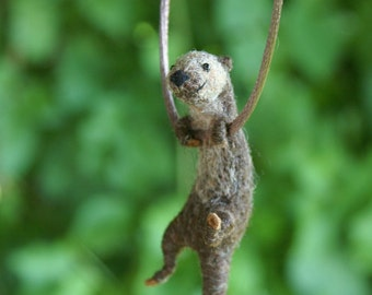 Tiny Otter Necklace or Sculpture Made to Order - Needle Felted