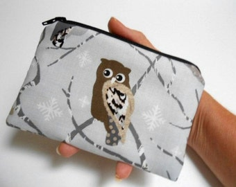 Owls Little Zipper Pouch Coin purse ECO Friendly Padded NEW Shades of SilverOwls