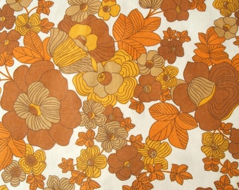 vintage flower power 60s 70s fabric in orange and mustard yellow large piece
