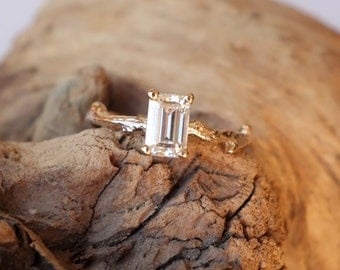 Emerald Cut Moissanite Branch Solitaire
