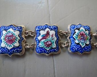 Antique Chinese or Persian Handpainted Enamel Link Bracelet