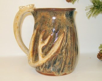 deer antler mug handmade pottery gift for the hunter coffee camoflauge 12 oz size 002