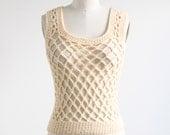 Vintage Cream Wool Openwork Top