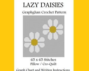 Lazy Daisies Pillow / Cro-Quilt - Graphghan Crochet Pattern