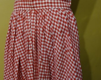 Small 26 Waist 1950s Vintage Red and White Cotton Gingham Full Circle Skirt Pin Up Rockabilly Viva Las Vegas