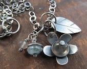 Reserved for PAM Silver Flower Necklace Labradorite Gemstone Leaf Stamped silver charm Necklace