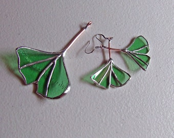 Funky Green Glass Ginkgo Jewelry from Green Irish Whiskey Bottles - Eco Friendly Gift