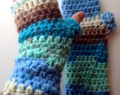 Crochet Fingerless Gloves Blue Sky Arm Warmers Mitts Brushed Acrylic